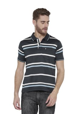 Duke Dark Grey Striped Regular Fit Polo T-Shirt