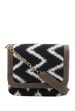 Tarusa Black & White Printed Cotton Flap Sling Bag