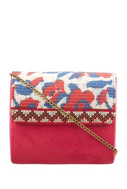 Tarusa Red & White Printed Cotton Flap Sling Bag