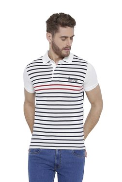 Duke White Half Sleeves Striped T-Shirt