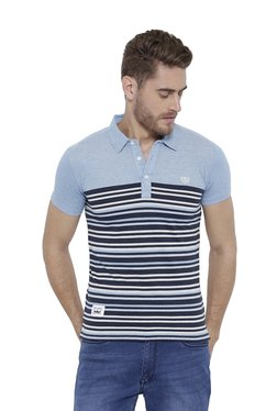 Duke Light Blue Striped Regular Fit Polo T-Shirt
