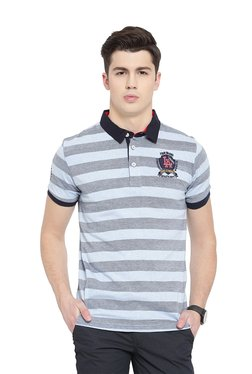 Duke Sky Blue & Grey Striped Regular Fit Polo T-Shirt