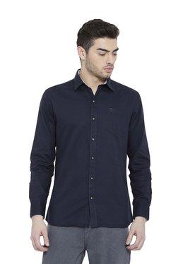 Duke Navy Solid Full Sleeves Shirt