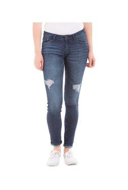 Elle Dark Blue Skinny Fit Distressed Jeans