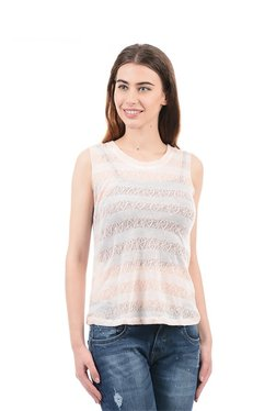 Elle Pink & White Lace Top