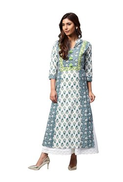 ef1e3881abe Jaipur Kurti Off White   Blue Printed Cotton Kurta