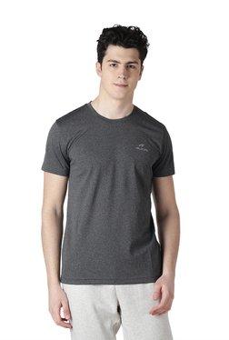 ALCIS Men Dark Grey Round Neck Regular Fit T-Shirt