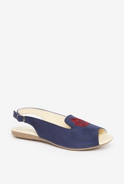 Zudio Faux-Suede Navy Peep-Toe Sandals
