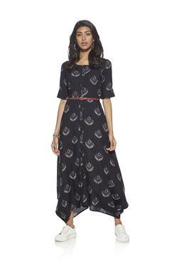 Bombay Paisley By Westside Black Dress With Maroon Belt