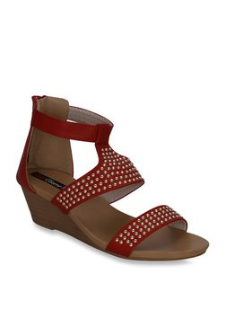 Get Glamr Red Ankle Strap Wedges