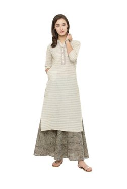 Varanga Beige & Black Striped Kurta With Palazzo