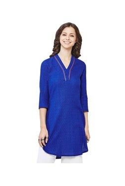 Global Desi Royal Blue Printed Kurti