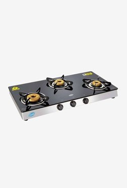 Glen LPG Stove 1038 GT AI Forged BB Mirror 3 Burner Gas Cooktop (Black/Silver)