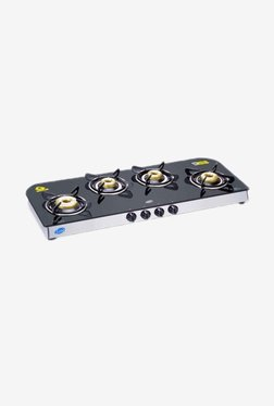 Glen LPG Stove 1049 GT AI FB 4 Burner Gas Cooktop (Black)