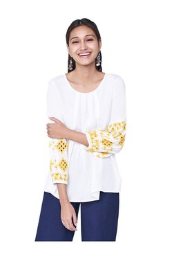 Global Desi White Round Neck Top