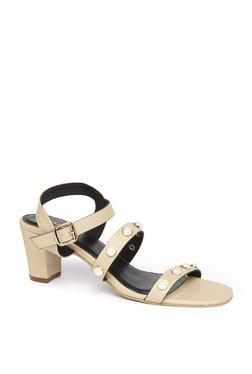 LUNA BLU By Westside Beige Block Heel Sandals