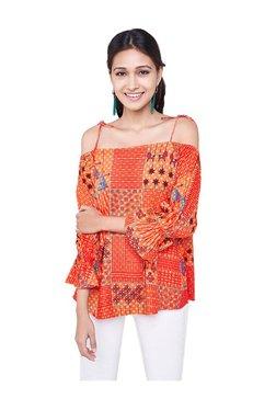 Global Desi Orange Printed Top - Mp000000002554339