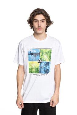 DC White Round Neck Printed T-Shirt
