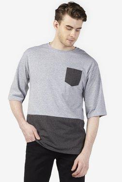 Zudio Grey Melange Oversized Pure Cotton T-Shirt