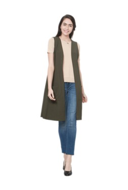 Solly By Allen Solly Olive Textured Shrug