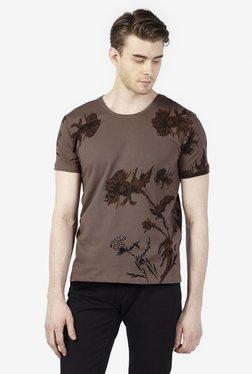 Zudio Light Brown Slim Fit Pure Cotton Printed T-Shirt