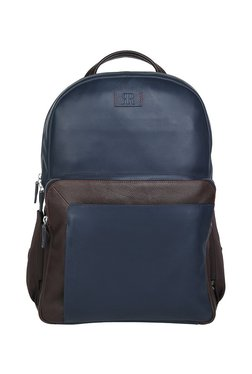 Raymond Navy & Dark Brown Solid Leather Backpack - Small