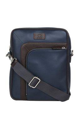 Raymond Navy & Dark Brown Solid Leather Sling Bag - Medium
