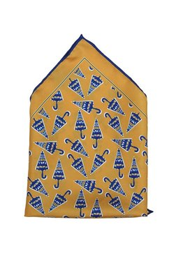 Raymond Yellow Ochre & Blue Printed Silk Pocket Square