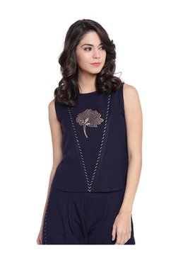 9rasa Navy Block Print Rayon Viscose Top