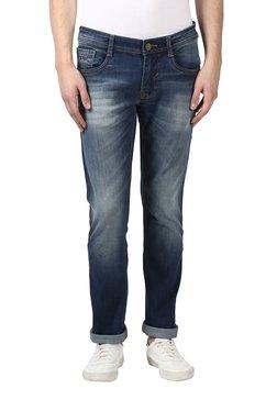 Parx Dark Blue Solid Mid Rise Jeans