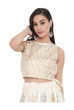 Studio Rasa Off White Printed Cotton Crop Top