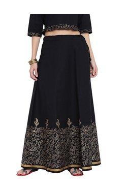 9rasa Black Printed Cotton Poplin Skirt