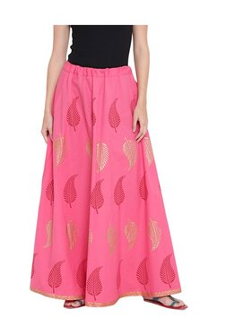 9rasa Pink Block Print Cotton Poplin Skirt