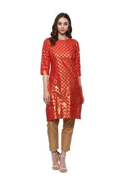 Ahalyaa Fiery Red Printed Cotton Kurta
