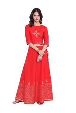 9rasa Red Printed Cotton Crop Top With Lehenga