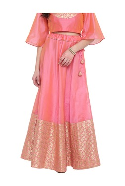Studio Rasa Pink Printed Chanderi Half And Half Skirt