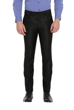 Parx Black Mid Rise Solid Tapered Fit Trousers