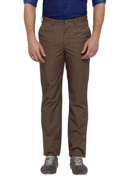 Parx Dark Brown Regular Fit Cotton Trousers