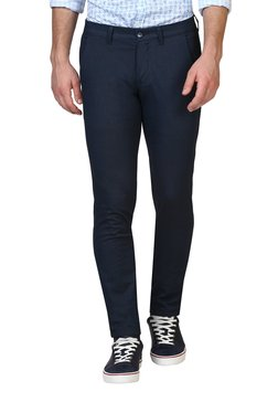 Parx Navy Flat Front Solid Mid Rise Trousers