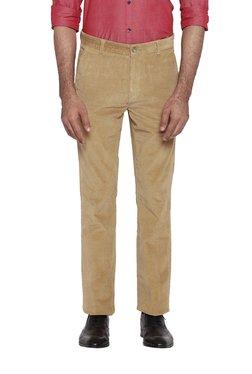 Parx Khaki Mid Rise Slim Fit Flat Front Trousers