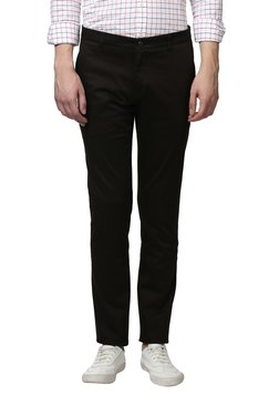 Parx Black Solid Flat Front Tapered Fit Trousers