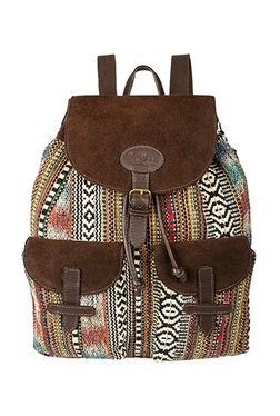 Holii Istanbul 03 Brown & Beige Embroidered Leather Backpack