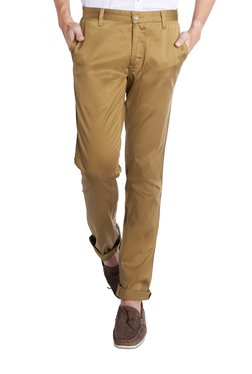 Parx Khaki Mid Rise Flat Front Tapered Fit Trousers
