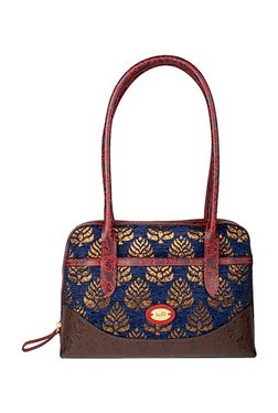 Holii Oscar 01 Navy & Brown Embroidered Leather Shoulder Bag