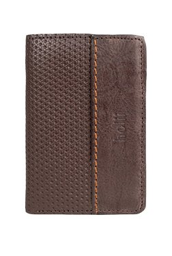 Holii Code W2 Dark Brown Textured Leather Tri-Fold Wallet