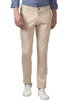 Parx Beige Tapered Fit Mid Rise Trousers
