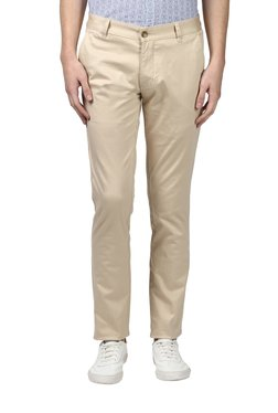 Parx Beige Tapered Fit Solid Trousers