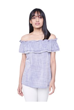 AND Purple Off Shoulder Top
