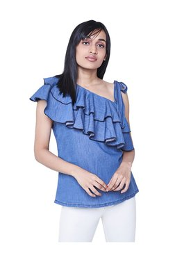 AND Blue Textured One Shoulder Top