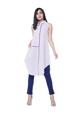 AND White & Blue Striped Shirt Tunic